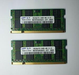Samsung M470T5663QZ3-CF7 4GB 2X2GB PC2-6400S 200-Pin SODIMM DDR2 Memory Ram
