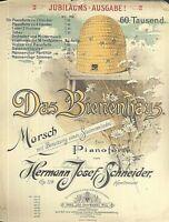 """"""" Das Bienenhaus """"  Marsch von H. J. Schneider Op. 124 alte Noten übergroß"""