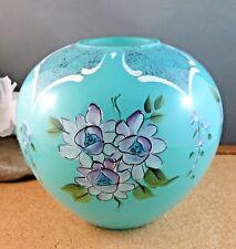 Vintage Artist Signed Fenton Turquoise Blue Art Glass Vase Enamel Flowers LE
