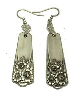 VINTAGE ANTIQUE SPOON Earrings Rogers April Floral Silverplate Fork Jewelry