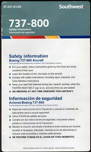 SOUTHWEST AIRLINES US AVIATION SAFETY CARD 2020 B 737-800