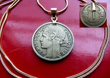 "Bronze pre War  French  Franc Pendant on a 24"" 18k Gold Filled Snake Chain"