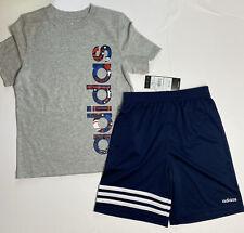 Adidas Boys Three Stripe Shorts & Tee Shirt Set Outfit Grey Blue Sz 6