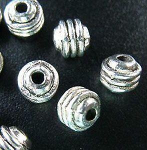 70pcs Tibetan Silver Triple Lined Barrel Spacers R109