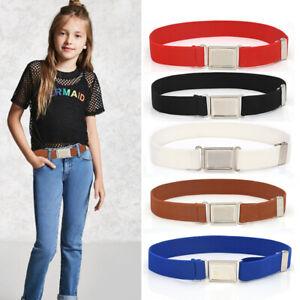 Boys Kids Belts Girls Elastic Adjustable Children Silver Alloy Buckle Toddler UK