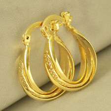 Womens Hoop earing Free Shipping Durable 14K Yellow Gold Filled Embossed