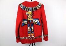Vintage Hand Knit Wool Fringe Totem Pole Alaska Cowichan Zip Up Sweater Coat VTG