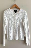 Eddie Bauer Women's White Knit Cotton Blend Button Up Cardigan Size M