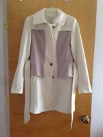 Nwt Anthropologie Ivory Elevenses Colette Trench Coat, Sz 12