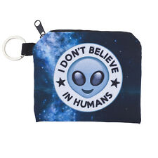 Lux Accessories I Don't Believe In Humans Alien Cosmic Space Printed Makeup Bag