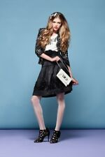 ALANNAH HILL Charcoal 'The Scream Dream' Skirt Size 6 Small S RRP:$249