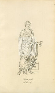 ANTIQUE Ancient Costume Print - Roman Young Male #F169