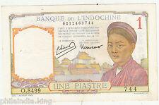 1939 French Indo-China 1 Piatres (O.8499 744) XF / Circulated / Small Hole