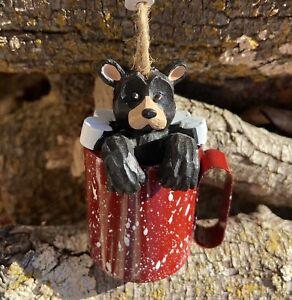 Kurt Adler Bear in a Camp Mug with Marshmellows Christmas Ornament