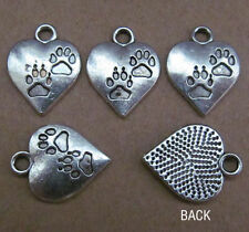 20pc Tibet silver swing charm heart-shaped footprint beads  PL036
