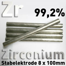 Zirconium-Stab-Anode Elektrode 100 x 8 mm Elektrolyse Galvanik Zr 702 Element 99