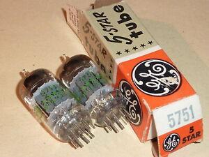 2 x GE 5751 (12AX7  ECC83)  3 mica  (ML spec)  NOS / gut geprüft auf Funke W16
