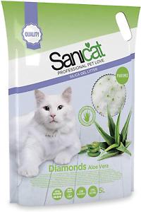 Sanicat Diamonds Aloe Vera Silica Gel Non Clumping Cat Pet Litter Freshener 5L