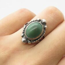 Old Pawn 925 Sterling Silver Real Gemstone Tribal Handmade Ring Size 5