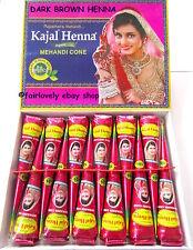 *BUY 4 GET 1 FREE* 1 x BOX OF 12 Kajal DARK BROWN Henna Mehndi Cone Tube ORGANIC