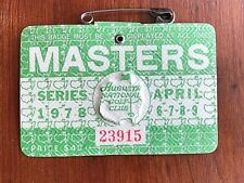 1978 VIntage Masters Golf Admissions Badge Augusta National, Gary Player Wins