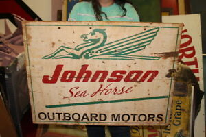 "Large Vintage Johnson Sea Horse Outboard Boat Motors Fishing 30"" Wood Sign"