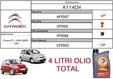 KIT TAGLIANDO 4 FILTRI + OLIO TOTAL CITROEN C2 /C3 /PLURIEL 1.4 HDi 50 KW 68 CV