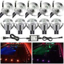 10pcs 22mm RGB LED Inground Landscape Lamp Garden Outdoor Decking Light Kits