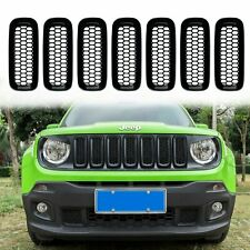 7pcs ABS Front Grill Grille Inserts Cover with Mesh for Jeep Renegade 2015-2017