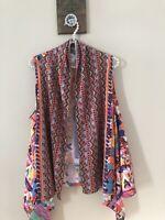 Soft Surroundings Size L/XL Kimono Top Sleeveless Tribal Asymmetrical Multicolor