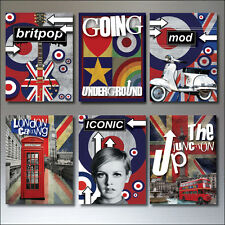 6 Pop culture fridge magnets Mod retro punk rocker vintage music