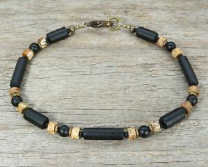 Mens Bracelet Thin Unisex Black Bracelet with Onyx, Jasper and 'Sea Glass' Tubes