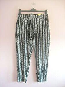 M&S Size 16 Reg Black + Cream Stretch Taper Leg Elasticated Casual Pants NEW