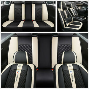 Deluxe Edition Seat Covers Cushion PU Leather Full Surrounded Fit For 5 Seat Car