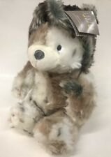 Levtex Baby Teddy Bear Plush with Snow Leopard Faux Fur Bomber Winter Hat 15 in