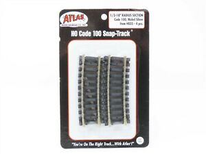 """HO Scale Atlas #835 Code 100 Snap-Track 1/3-18"""" Radius Curved 4-Pack - Sealed"""