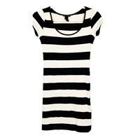 H&M Women's Size XS Basic Black/Cream Striped Scoop Short Sleeve Bodycon Dress