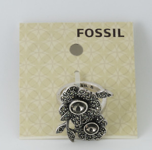 Fossil Women's Silver Ring JA49467978 Size 8, New