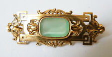 Broche en OR massif + calcédoine verte Bijou ancien gold brooch