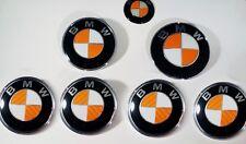 ORANGE CARBON FIBER Complete Set of Vinyl Sticker Overlay All BMW Emblems