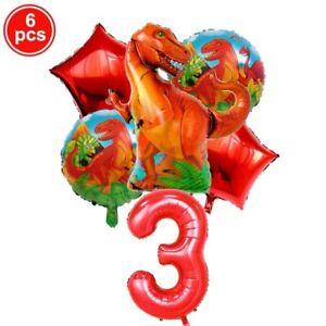 6pcs/Set Dinosaur Party Foil Balloons 1-9 Birthday Party Decoration Kids Toys