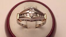 14k White Gold Marquise .55 ct Diamond Engagement Ring, Two Tone, Size 7 1/4