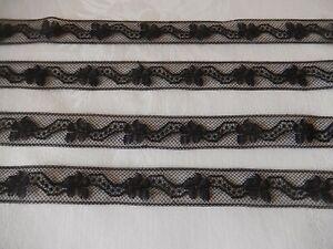 DENTELLE DE VALENCIENNES ANCIENNE NOIRE : 10 m x 2 cm