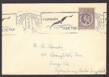 Denmark 1953 cover to England Fahrschiff Deutschland slogan cancellation