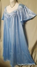 """Only Necessities CALF BLUE NYLON SHORT SLEEVE NIGHTGOWN  SZ LARGE GIFT 52"""" BUST"""