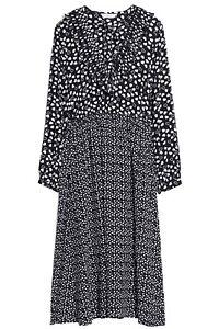 Gorgeous Women's & Other Stories Black & White Heart Print Midi Dress 42 UK 16