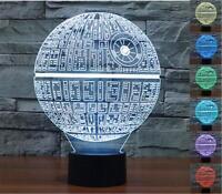 3D illusion Star Wars Death Star Night LED 7 color change desk table lamp light