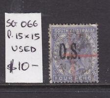 South Australia: 4d Blue Qv Ov/Pr Os Perf 15 X 15 Sg O66 Used.