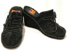 Rocket Dog Shoes Platform Wedge Suede Fur Mules Black Sz 7 1/2