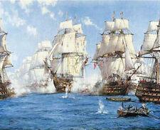 Fine seascape huge Oil painting Turner - The Battle of Trafalgar sail boats